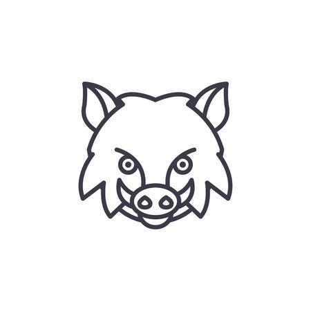 wild boar vector line icon, sign, illustration on white background, editable strokes Çizim