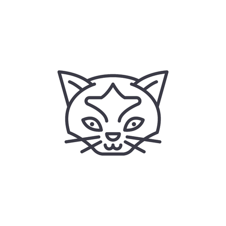 wild cat head vector line icon, sign, illustration on white background, editable strokes