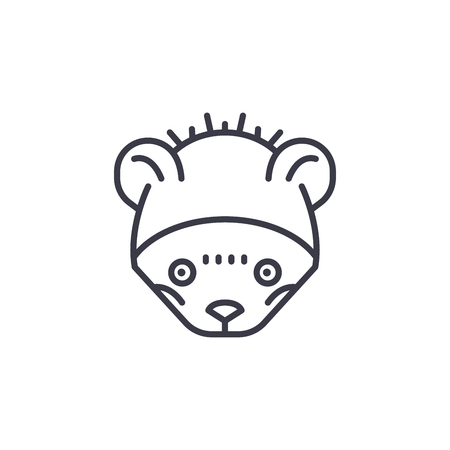 wild mouse head vector line icon, sign, illustration on white background, editable strokes Illustration