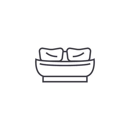 twin bed vector line icon, sign, illustration on white background, editable strokes Archivio Fotografico - 104632552