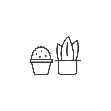 two cactuses vector line icon, sign, illustration on white background, editable strokes Illustration