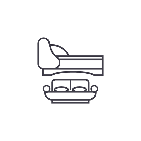two double beds vector line icon, sign, illustration on white background, editable strokes