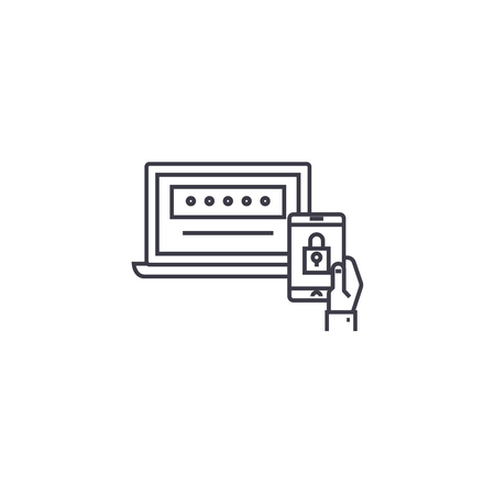two factor authentication vector line icon, sign, illustration on white background, editable strokes