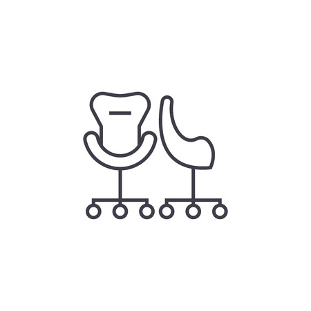 two rolling armchairs vector line icon, sign, illustration on white background, editable strokes Illustration