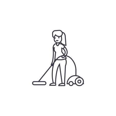 vacuum cleaning vector line icon, sign, illustration on white background, editable strokes Illustration