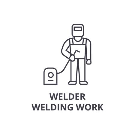 welder, welding work vector line icon, sign, illustration on white background, editable strokes Illustration