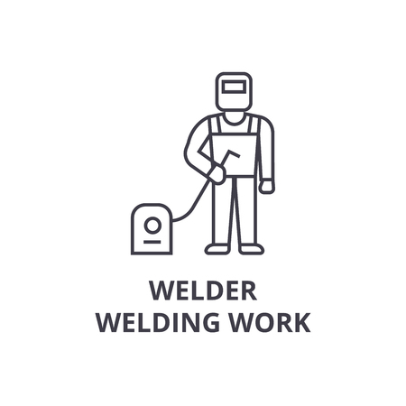 welder, welding work vector line icon, sign, illustration on white background, editable strokes 向量圖像