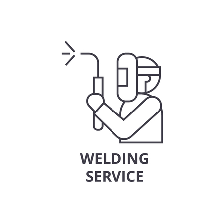 welding service vector line icon, sign, illustration on white background, editable strokes