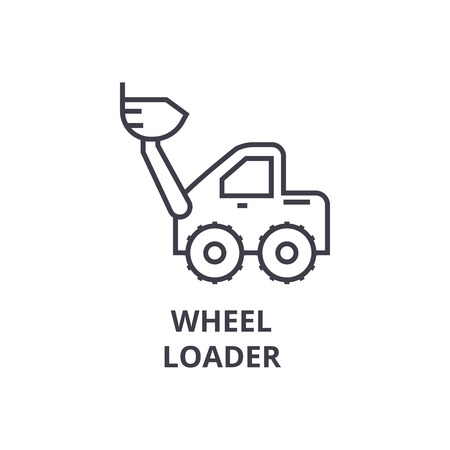 wheel loader vector line icon, sign, illustration on white background, editable strokes