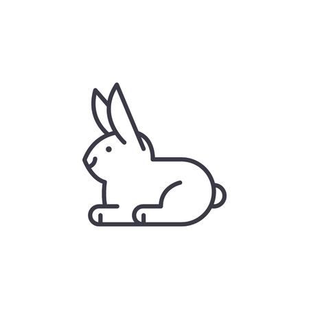 white rabbit vector line icon, sign, illustration on white background, editable strokes