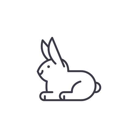 white rabbit vector line icon, sign, illustration on white background, editable strokes