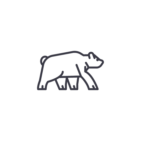 wild bear vector line icon, sign, illustration on white background, editable strokes