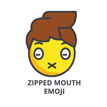 zipped mouth emoji vector line icon, sign, illustration on white background, editable strokes