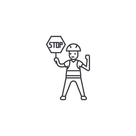 worker with a stop sign vector line icon, sign, illustration on white background, editable strokes