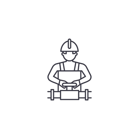 worker spinning the valve vector line icon, sign, illustration on white background, editable strokes