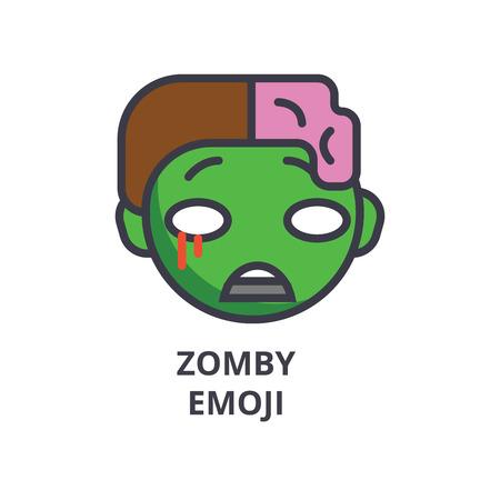 zomby emoji vector line icon, sign, illustration on background, editable strokes Stockfoto