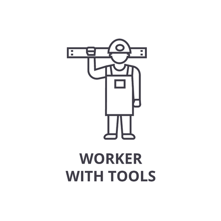 worker with tools vector line icon, sign, illustration on white background, editable strokes