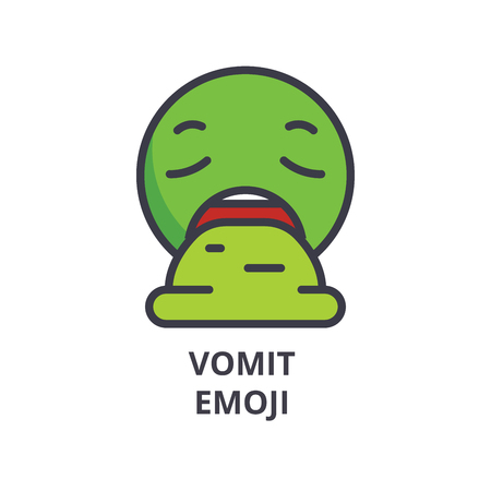 vomit emoji vector line icon, sign, illustration on white background, editable strokes