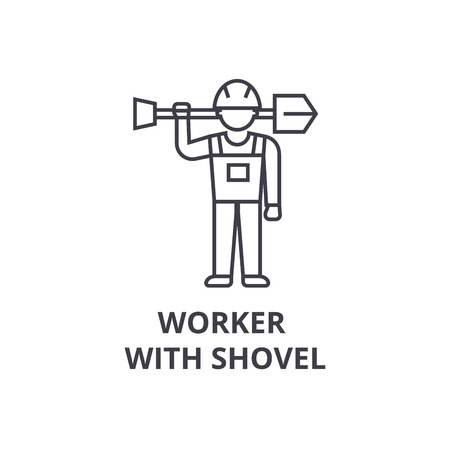 worker with shovel vector line icon, sign, illustration on white background, editable strokes Stock Photo