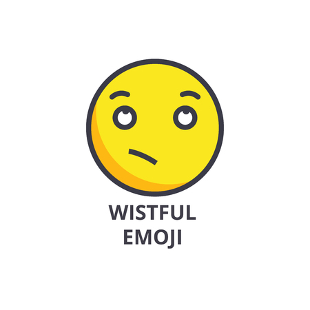 wistful emoji vector line icon, sign, illustration on white background, editable strokes Stock Photo