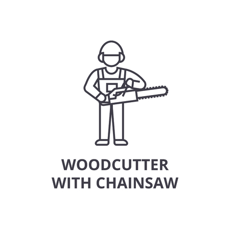 woodcutter with chainsaw vector line icon, sign, illustration on white background, editable strokes