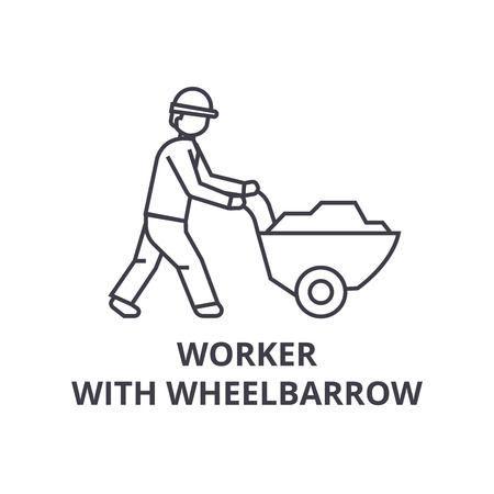 worker with wheelbarrow vector line icon, sign, illustration on white background, editable strokes