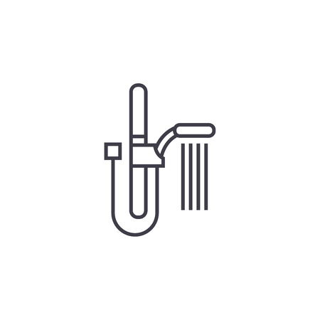 wall shower vector line icon, sign, illustration on white background, editable strokes