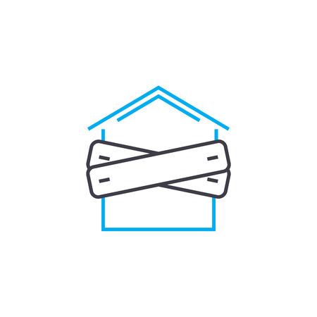 Quiebra del icono de trazo de delgada línea de vector de empresa. Quiebra de la ilustración de esquema de empresa, signo lineal, concepto aislado de símbolo. Ilustración de vector