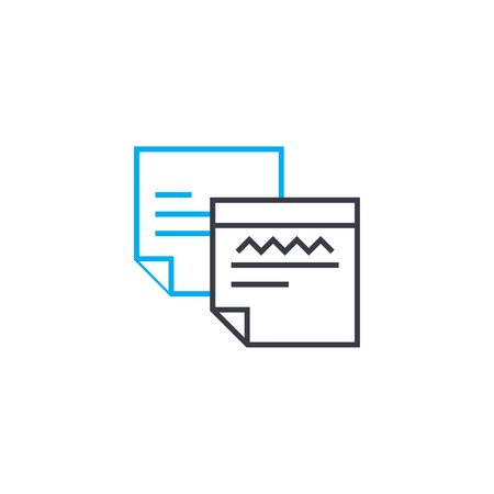 Analytical reports vector thin line stroke icon. Analytical reports outline illustration, linear sign, symbol isolated concept. Illustration