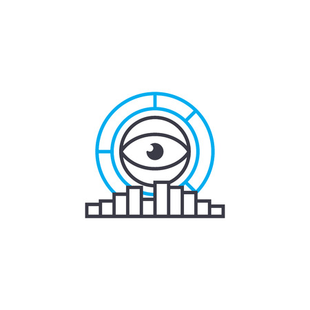 Analytical research system vector thin line stroke icon. Analytical research system outline illustration, linear sign, symbol isolated concept.