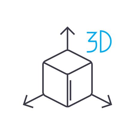 Icona di tratto sottile di linea sottile di vettore di modello 3D. Illustrazione di contorno del modello 3D, segno lineare, concetto di simbolo isolato.