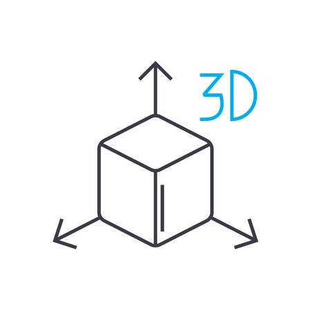 Icono de trazo de línea delgada de vector de modelo 3D. Ilustración de esquema de modelo 3D, signo lineal, concepto aislado de símbolo.