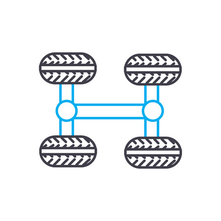 4WD transmission vector thin line stroke icon. 4WD transmission outline illustration, linear sign, symbol isolated concept. Stock Illustratie