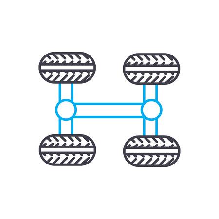 Icono de trazo de línea fina de vector de transmisión 4WD. Ilustración de esquema de transmisión 4WD, signo lineal, concepto aislado de símbolo.
