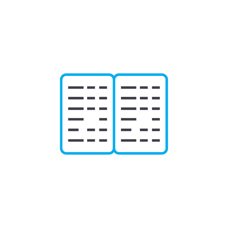 Braille book vector thin line stroke icon. Braille book outline illustration, linear sign, symbol isolated concept.