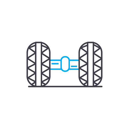Car chassis vector thin line stroke icon. Car chassis outline illustration, linear sign, symbol isolated concept.
