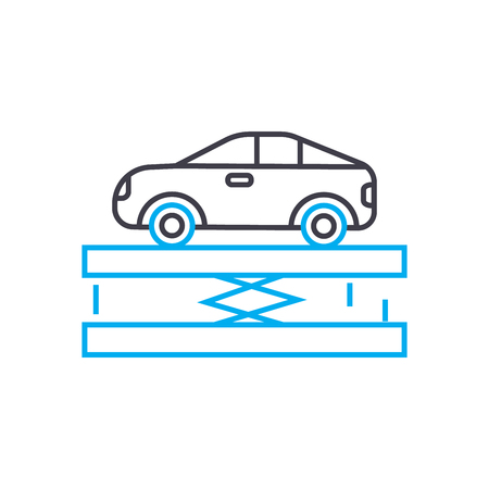 Car lift vector thin line stroke icon. Car lift outline illustration, linear sign, symbol isolated concept. Banque d'images - 101247022