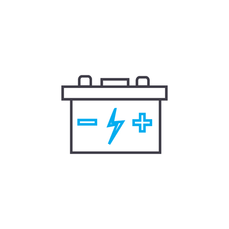 Car battery vector thin line stroke icon. Car battery outline illustration, linear sign, symbol isolated concept. Banque d'images - 101247023