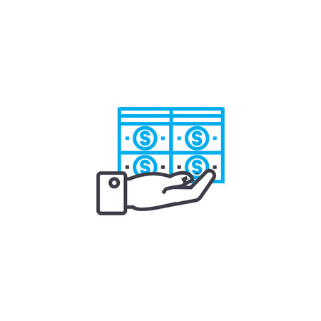 Big funds vector thin line stroke icon. Big funds outline illustration, linear sign, symbol isolated concept.