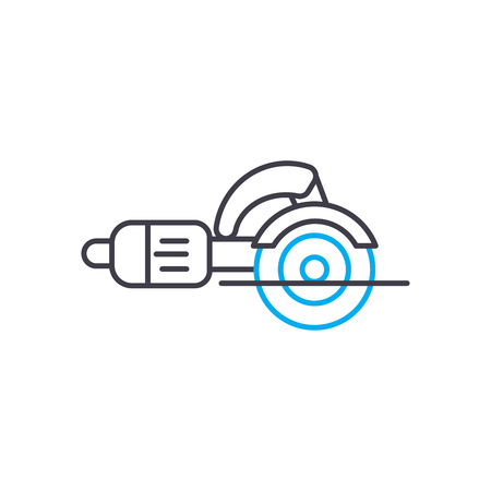 Angle grinder vector thin line stroke icon. Angle grinder outline illustration, linear sign, symbol isolated concept.