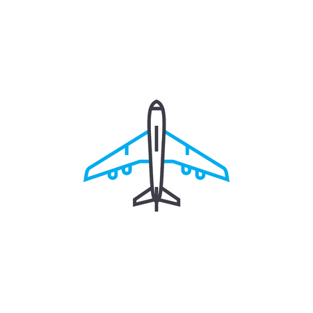 Aircraft vector thin line stroke icon. Aircraft outline illustration, linear sign, symbol isolated concept. Illustration