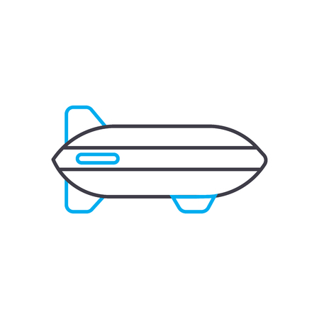 Airship vector thin line stroke icon. Airship outline illustration, linear sign, symbol isolated concept.