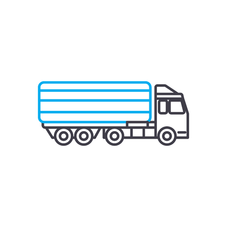 Articulated lorry vector thin line stroke icon. Articulated lorry outline illustration, linear sign, symbol isolated concept. Illustration
