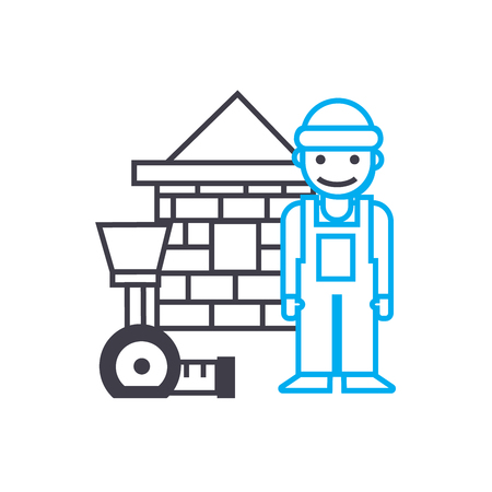 Assistant construction worker vector thin line stroke icon. Assistant construction worker outline illustration, linear sign, symbol isolated concept. Stock Illustratie