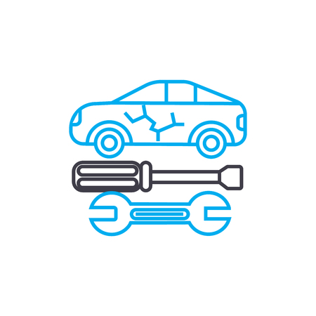 Auto bodywork vector thin line stroke icon. Auto bodywork outline illustration, linear sign, symbol isolated concept. Stock Illustratie