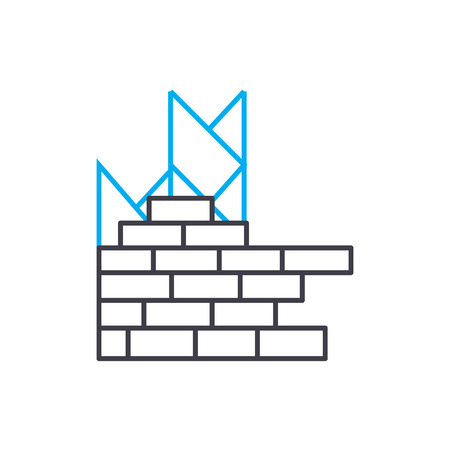 Brick layering vector thin line stroke icon. Brick layering outline illustration, linear sign, symbol isolated concept. Banque d'images - 101247064