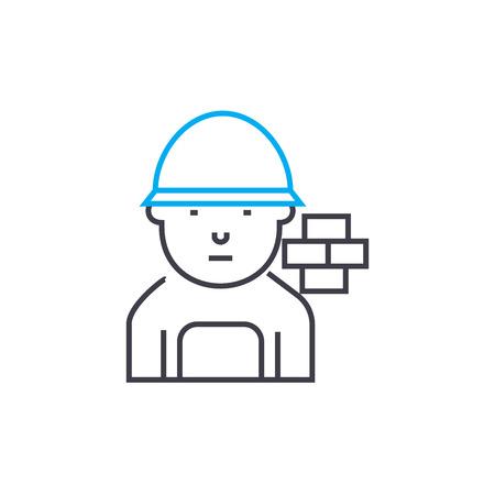 Brick mason vector thin line stroke icon. Brick mason outline illustration, linear sign, symbol isolated concept. Illustration