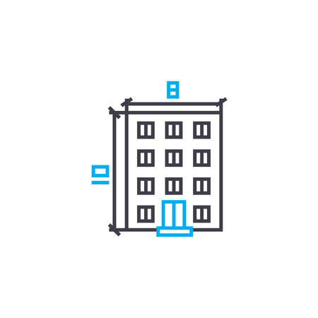Building parameters vector thin line stroke icon. Building parameters outline illustration, linear sign, symbol isolated concept.