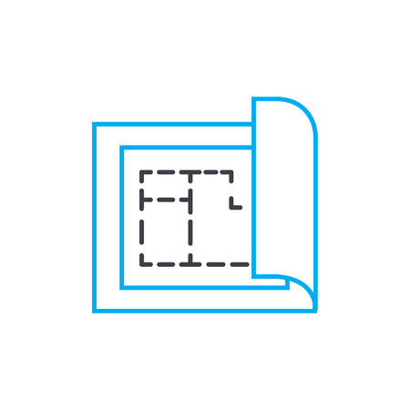 Building plan vector thin line stroke icon. Building plan outline illustration, linear sign, symbol isolated concept.
