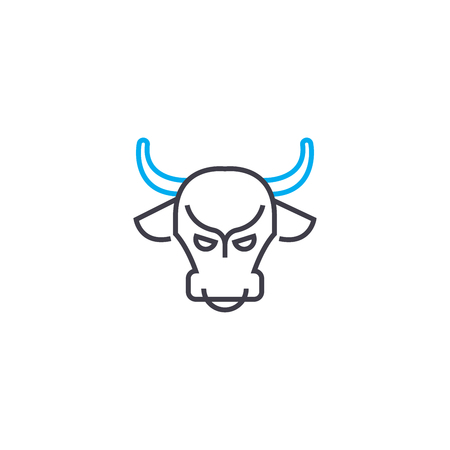 Bull market vector thin line stroke icon. Bull market outline illustration, linear sign, symbol isolated concept.
